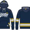 Blå hockey-hood